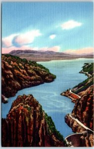 Vintage Wyoming Postcard Buffalo Bill Dam & Lake Bird's-Eye View Linen c1940s