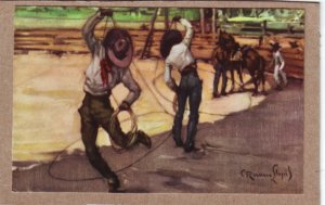 P1345 unused mexico art postcard signed cowboys ropes horse colorful