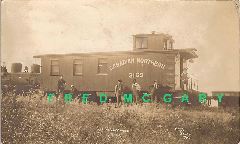 1911 Glenforsa Manitoba RPPC: Canadian Northern Caboose & Six Railroad Workers