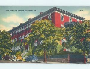 Unused Linen OLD CARS AT HOSPITAL Pottsville Pennsylvania PA d5452-14