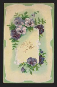 General Greetings - Think Of Me Flowers - Used - Embossed