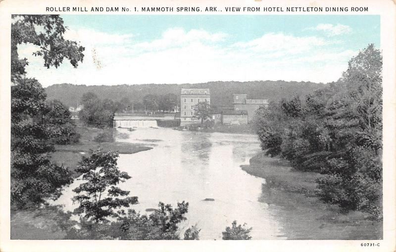 Mammoth Spring Arkansas~Roller Mill & Dam No 1~View of Falls From Hotel~1920s PC