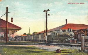 Ayer MA Train Station Railroad Depot Postcard