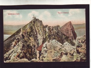 P1669 old unused postcard signal station mountains gibraltar