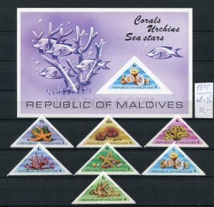 265731 Maldives 1975 year MNH stamps set+S/S SEA SHELLS