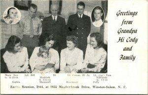 Vtg Postcard RPPC Greetings From Grandpa Hi Cody & Family Easter Reunion 1944