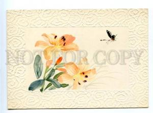164174 BUTTERFLY & LILY Old HAND PAINTED Water Color PC