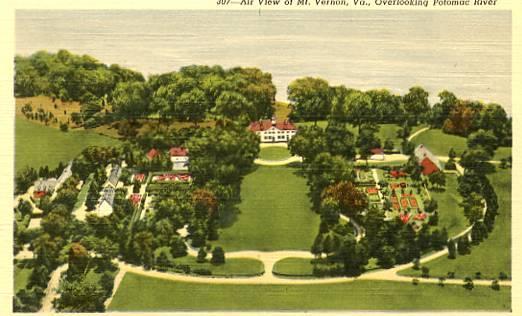 VA - Mount Vernon, Aerial View Overlooking the Potomac River