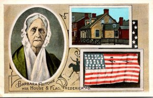 Maryland Frederick Barbara Fricthie With Her House and Flag Curteich