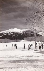 Arizona FLagstaff Snow Bank With Skiers Real Photo