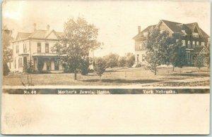 1907 YORK, Nebraska RPPC Real Photo Postcard Mother's Jewels Home Orphanage
