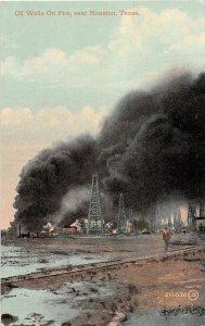 G22/ Houston Texas Postcard c1910 Oil Well Fire Disaster Derricks