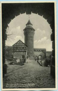 Germany - Nurnberg, View through Burgator to Sinwell & Vestner Tower    *RPPC