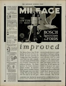 1927 Bosch Ignition for Fords Improved Vintage Print Ad 3891