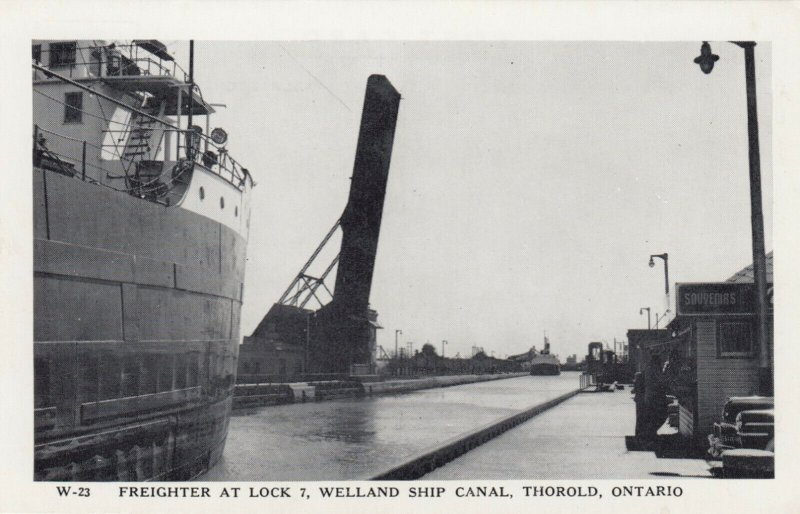 THOROLD , Ontario , Canada, 1930-50s; Freighter at Lock 7, Welland Ship Canal