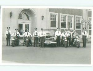 rppc Pre-1950 Motorcycle Cops FOUR POLICE OFFICERS ON MOTORCYCLES AC8075