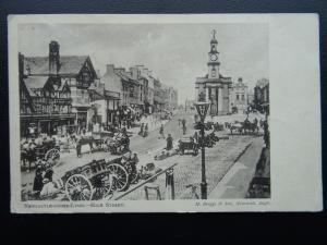 Staffordshire NEWCASTLE UNDER LYME High Street c1908 Postcard by M. Briggs & Son