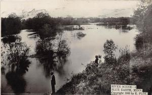 D96/ Blue Earth Minnesota Mn Real Photo RPPC Postcard c1910 River Man