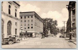 Rutland Vermont~West Street @ Merchants Row~Cars Parked~1951 B&W Postcard