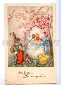 176524 EASTER Dressed RABBIT Bunny as PAINTER Egg Vintage PC