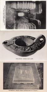 Verulamium Roman Mosaic Head of Sea-God Lamp Building 3x Real Photo Postcard s