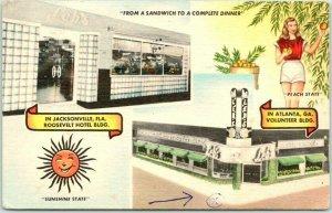 Atlanta, Georgia Postcard LEB'S PIGALLEY RESTAURANT / MWM Linen 1954 Cancel