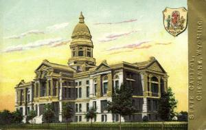 Cheyenne, Wyoming, State Capitol, Coat of Arms (1910s) Gold Embossed