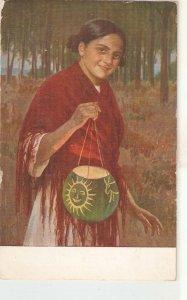 Simonet. Girl with lamp.Niña del Farol Nice art Spanish vintage postcard