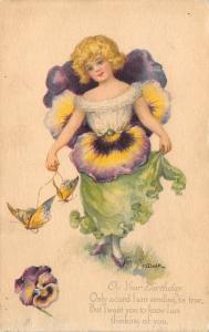 M Dulk~Fantasy Flower Girl in Purple Pansy Hat & Dress~Gibson Art Lines~1916 PC