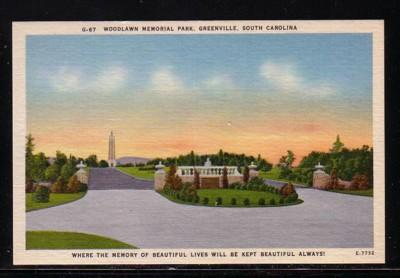 South Carolina colour PC Woodlawn Memorial Park Greenville, unused
