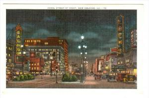 Canal Street at night, New Orleans,  Louisiana,  30-40s