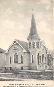 Le Mars Iowa~United Evangelical Church~Stained Glass Windows~c1910 Postcard