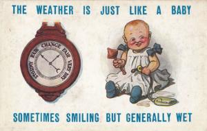 Weather Barometer Like A Baby Old Comic Humour Antique Postcard