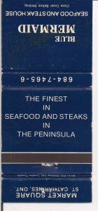 Matchbook Cover ! Blue Mermaid Seafood & Steak, St. Catharines, Ontario !