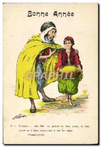 Old Postcard Fantasy Illustrator North Africa Bonne Annee