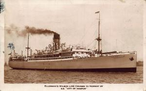Ellerman's Wilson Line Cruises to Norway SS City of Nagpur ship Postcard