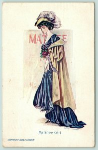P Gordon Matinee Girl~Lovely Lady in Blue Gown~Feather Hat~Cape~Theatre~1908