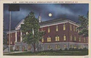 South Carolina Greenville Night Time Scene Of Greenville County Court House