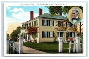 Postcard Home of Ralph Waldo Emerson, Concord MA united art co. G33