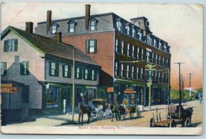 Postcard RI Westerly Martin Hotel 1909 Street View Horse Buggies Rhode Island Q6