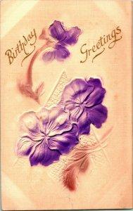 Vtg en Relief & Aérographe Carte Postale 1908 Anniversaire Voeux Pervenche