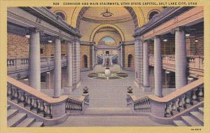 Utah Salt Lake City Corridor and Main Stairways State Capitol Building Curteich