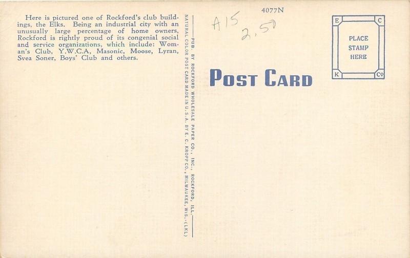 Rockford Illinois~Elks Club~BPOE~Horns Out Front~1940s Linen Postcard