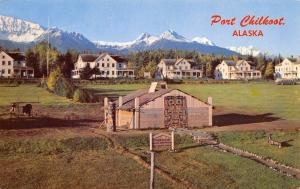 Port Chilkoot Alaska~Parade Ground~US Army Barracks~Totem Village~1970s Postcard