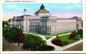 Library of Congress Washington, D.C. sunset or sunrise linen postcard