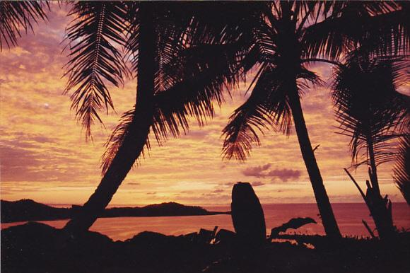 Micronesia Pohnpei Beautiful Beach Scene With Sunset