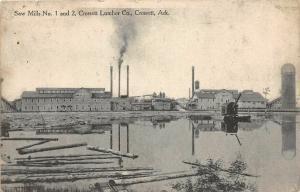 F31/ Crossett Arkansas Postcard 1913 Saw Mills 1 and 2 Lumber Company