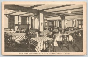 Chicago Illinois~New Bismarck Hotel~Dutch Room~Checkered Tablecloths~1930s