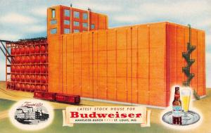 St Louis Missouri~Budweiser Stockhouse #14~Aging Beer Building~1950 Adv Postcard