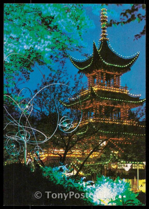 COPENHAGEN, DENMARK- Tivoli, The Chinese tower by night